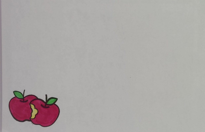 Briefomslag Mand met appelen